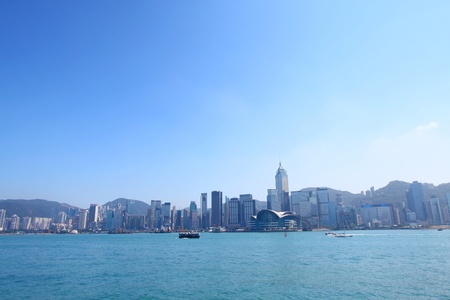 Hong Kong skyline along the coastline photo