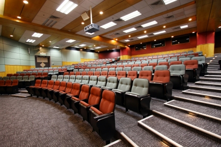seating: Lecture hall with colorful chairs in university