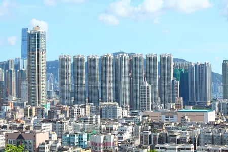 Hong Kong with crowded buildings