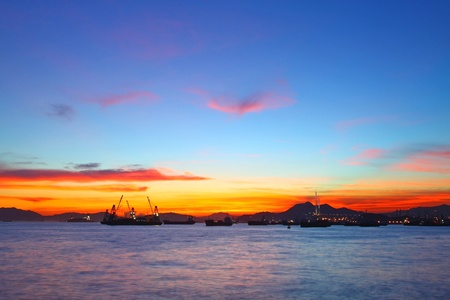 Sunset in Hong Kong at summer time Stock Photo - 12739900