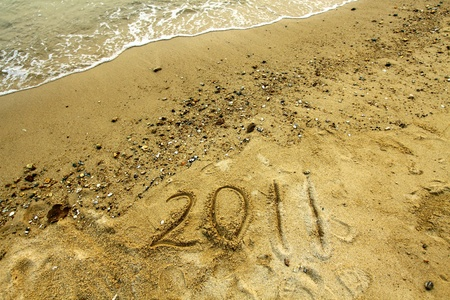 2011 on sand Stock Photo - 12716542