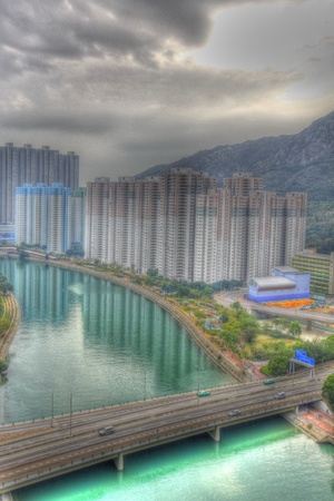 Tuen Mun downtown at day in Hong Kong, HDR image.