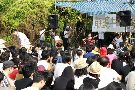 HONG KONG - NOV 14, Ma Shi Po Breathing Concert in Fanling, Hong Kong on 14 November, 2010. It is an event to promote protection of the village.