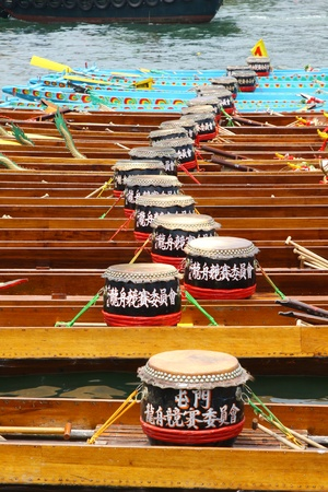 dragonboat: HONG KONG - JUN 6: The dragon boat stays along the rive after finished the dragon boat race on Tuen Ng Festival on 6 June, 2011 in Tuen Mun, Hong Kong.