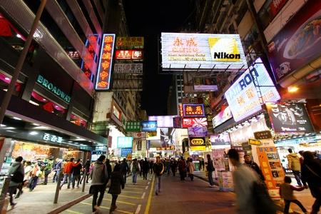 HONG KONG - JAN 29, Busy street with many moving people in Mongkok, Hong Kong on 29 January, 2011.