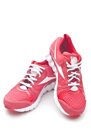 sneakers: Red running sports shoes Stock Photo