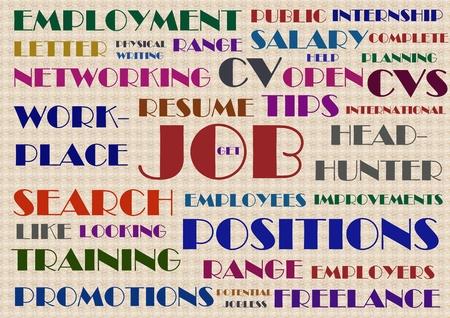 Zoektocht naar een baan wordcloud illustratie