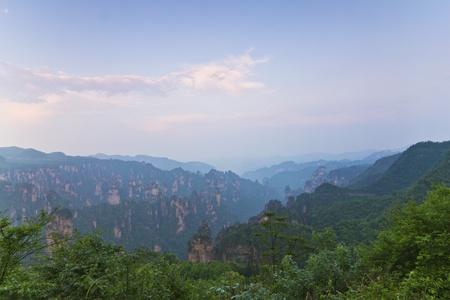 Mountain sunset in Zhangjiajie, China. photo