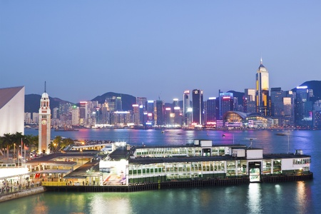 Hong Kong harbour at sunset photo