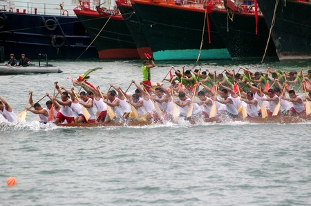 HONG KONG - JUN 16, Dragon boat race in Tung Ng Festival in Tuen Mun, Hong Kong on 16 June, 2010. It is a traditional festival in Chinese community.