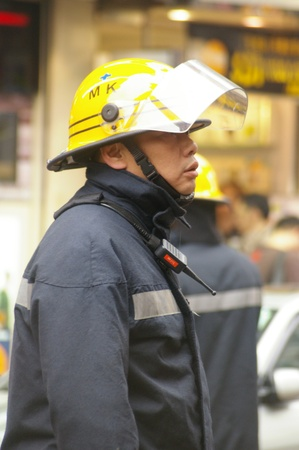 HONG KONG - A fireman in an fire accident in Hong Kong on 28 January, 2009.