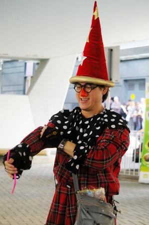 HONG KONG - JAN 16, Street performer playing magic in Hong Kong on 16 January, 2010.