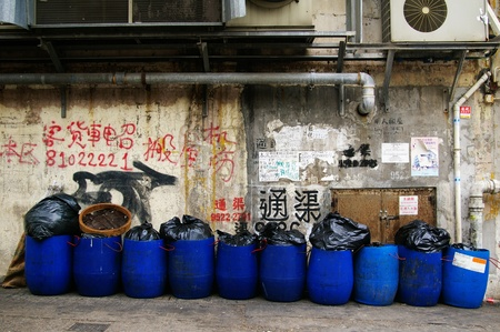 HONG KONG - MAY 13, A dirty street in Hong Kong on 13 May, 2009.