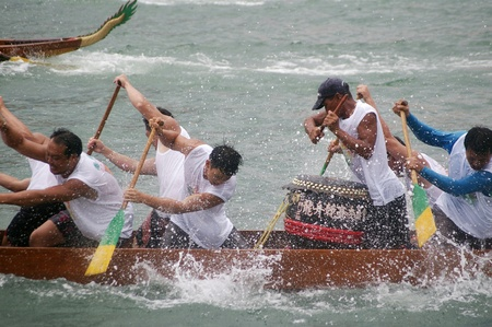 HONG KONG - JUN 16, Dragon boat race in Tung Ng Festival in Tuen Mun, Hong Kong on 16 June, 2010. It is a traditional festival in Chinese community. Stock Photo - 12935836