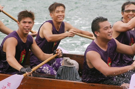 HONG KONG - JUN 16, Dragon boat race in Tung Ng Festival in Tuen Mun, Hong Kong on 16 June, 2010. It is a traditional festival in Chinese community. Stock Photo - 12935809