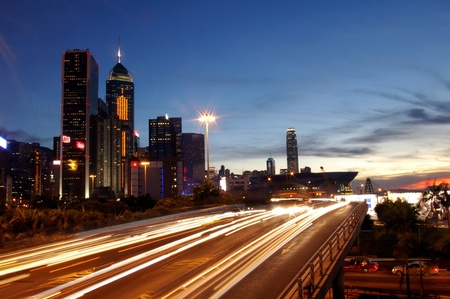 Busy traffic in Hong Kong at night Stock Photo - 12972640