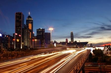 Hong Kong busy traffic at sunset time Stock Photo - 12976245