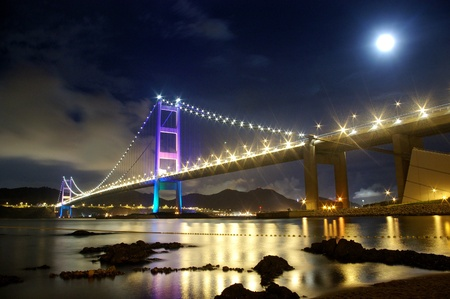 Tsing Ma Bridge in Hong Kong at night Stock Photo - 12976159