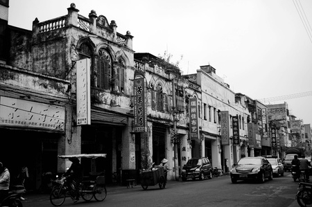 CHINA - DEC 21, It is a very old street with many traditional style buildings in Haikou, China on 21 December, 2009.