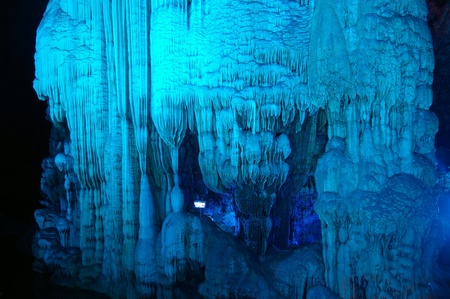 Illuminated Yanzi Stalactite Caves displaying the Crystal Palace of the Dragon King formations. Located in Guilin, Guangxi Provine, China