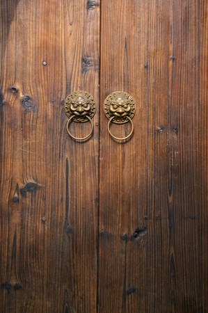 Chinese wooden door photo