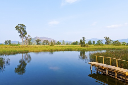 Wetland lake and wooden pier Stock Photo - 13060670