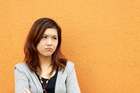 chinese face: A sad asian woman