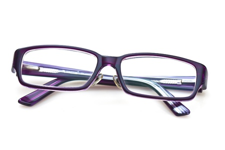 reading glasses: A pair of purple glasses