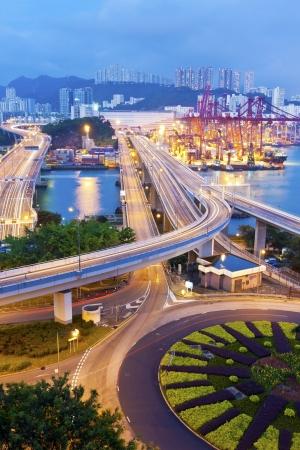 Hong Kong traffic at night photo