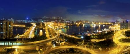 City traffic night scene in Hong Kong