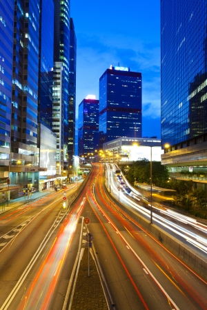 Hong Kong at night, traffic in city. Stock Photo - 13883524