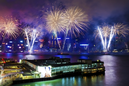HONG KONG - JUL 1, Fireworks Display to Celebrate the 15th Anniversary of the Establishment of the Hong Kong SAR is happening along Victoria Harbour, Hong Kong. A total of 50,000 firing shells was discharged.