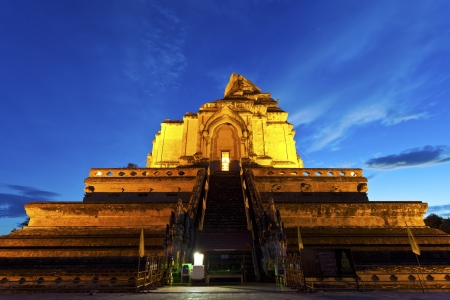 Wat Chedi Luang temple at sunset, Chiang Mai, Thailand. photo
