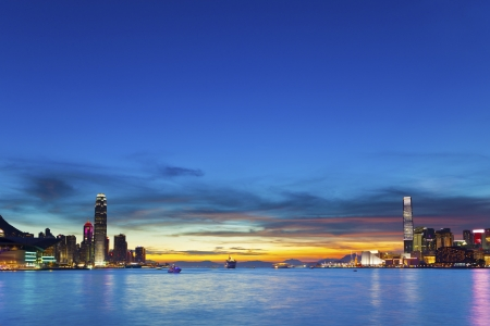 Hong Kong downtown at sunset photo