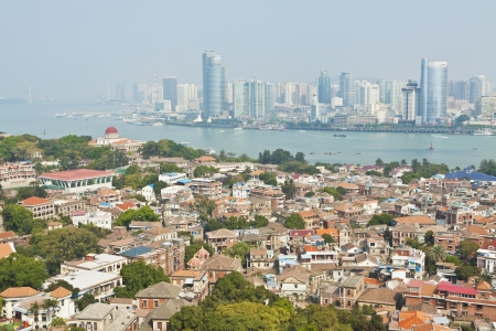 Xiamen view from Gulangyu Island, China.