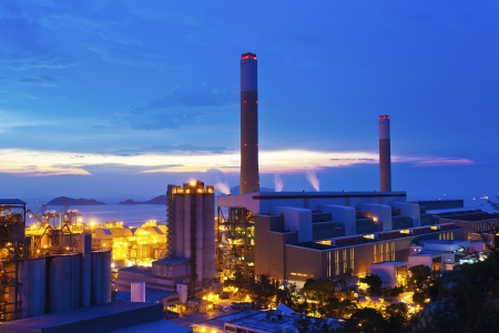 Power plants in Hong Kong at sunset Editorial