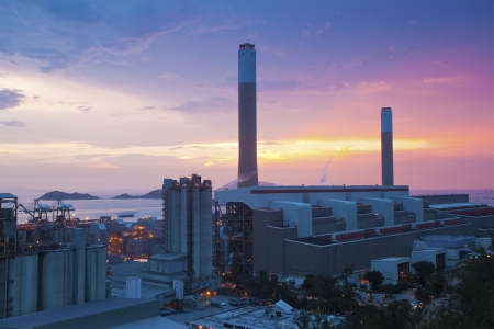 Power plants in Hong Kong at sunset photo