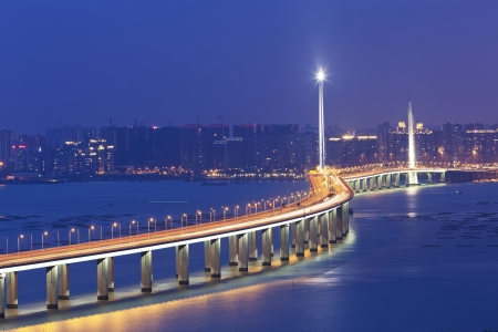 Hong Kong Shenzhen Western Corridor Bridge at night