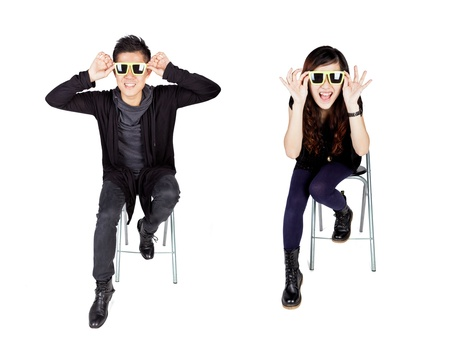 Asian fashion couple with sunglasses photo