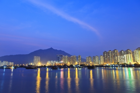 Hong Kong downtown at night, Tuen Mun district.  photo