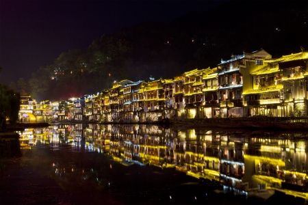 Fenghuang ancient town at night Stock Photo - 15712465