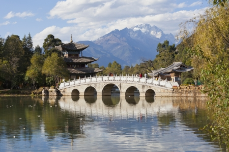 china dragon: Lijiang old town and Jade Dragon Snow Mountain in China
