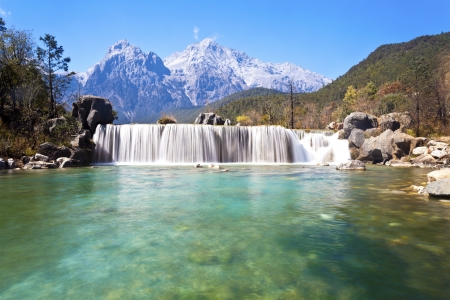 Blue Moon Valley landscape in mountains of Lijiang, China.  photo