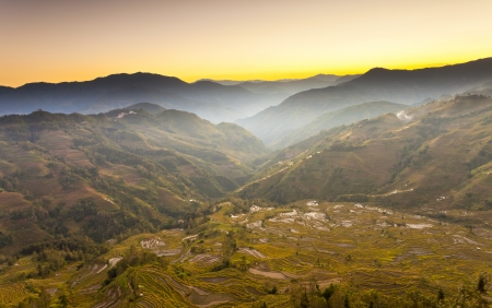 Yuanyang rice terraces sunset in Yunnan, China. photo