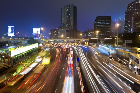 Traffic jam at night in Hong Kong Stock Photo - 16687088