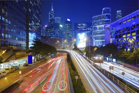 Traffic in city at night Stock Photo - 17358302