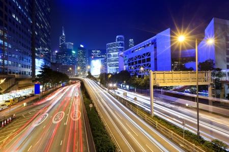 Traffic in Hong Kong at night Stock Photo - 17358301
