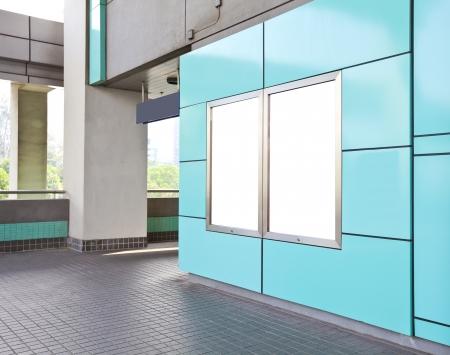 Blank billboard outside metro station