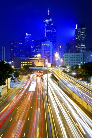 Busy traffic at night in Hong Kong Stock Photo - 17730655