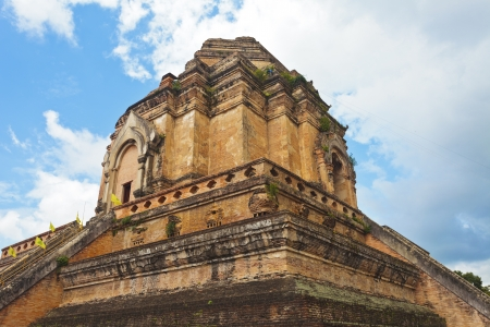 Wat Chedi Luang temple at day, Chiang Mai, Thailand.